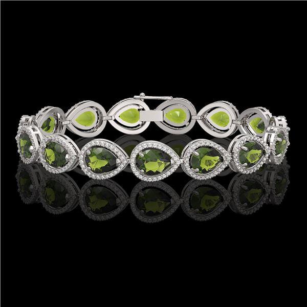19.7 ctw Tourmaline & Diamond Micro Pave Halo Bracelet 10k White Gold - REF-361H3R