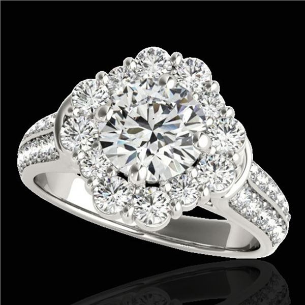 2.81 ctw Certified Diamond Solitaire Halo Ring 10k White Gold - REF-307A2N