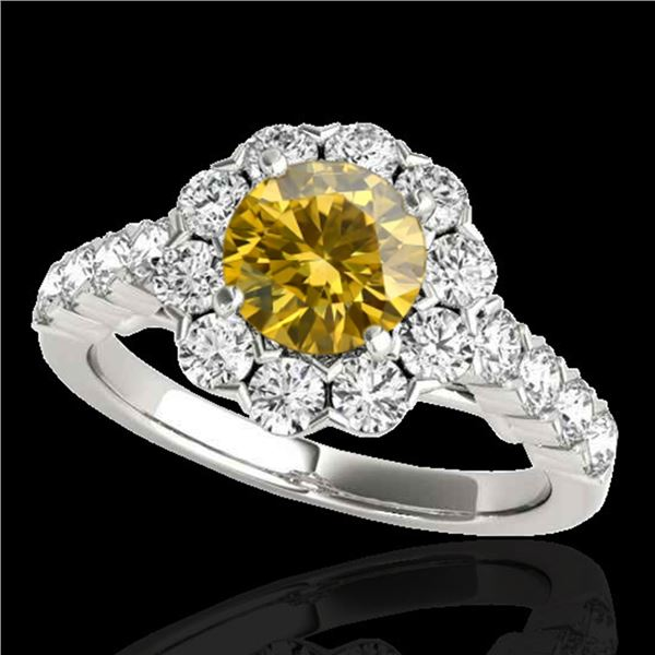 3 ctw Certified SI/I Fancy Intense Yellow Diamond Halo Ring 10k White Gold - REF-327A3N