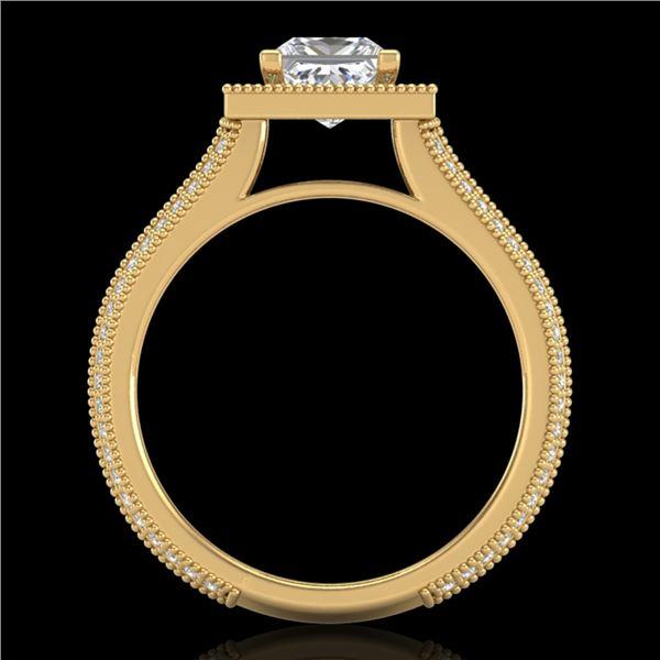 2 ctw Princess VS/SI Diamond Solitaire Micro Pave Ring 18k Yellow Gold - REF-472M8G