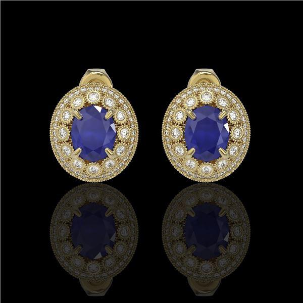8.84 ctw Certified Sapphire & Diamond Victorian Earrings 14K Yellow Gold - REF-214X5A