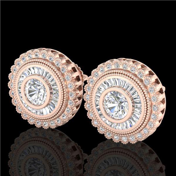 2.61 ctw VS/SI Diamond Solitaire Art Deco Stud Earrings 18k Rose Gold - REF-381W8H