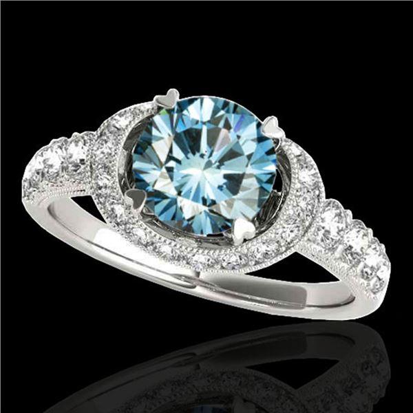 1.75 ctw SI Certified Fancy Blue Diamond Halo Ring 10k White Gold - REF-135H2R
