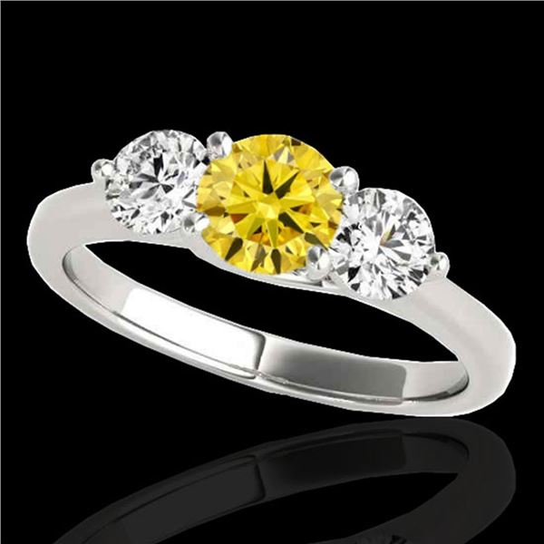 3 ctw SI/I Fancy Intense Yellow Diamond 3 Stone Ring 10k White Gold - REF-510A8N