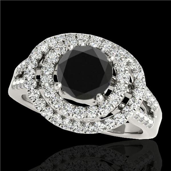 1.75 ctw Certified VS Black Diamond Solitaire Halo Ring 10k White Gold - REF-76R3K