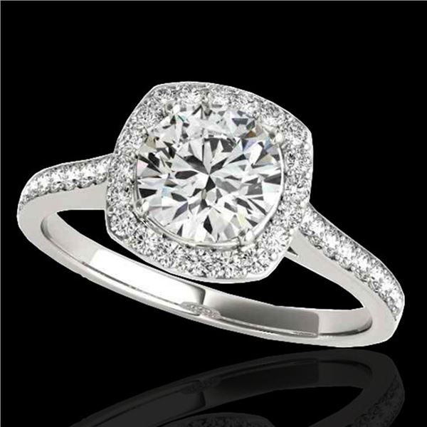 1.65 ctw Certified Diamond Solitaire Halo Ring 10k White Gold - REF-244R3K