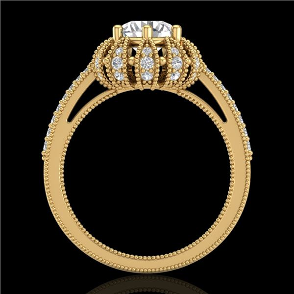 1.65 ctw VS/SI Diamond Art Deco Micro Pave Ring 18k Yellow Gold - REF-427W3H