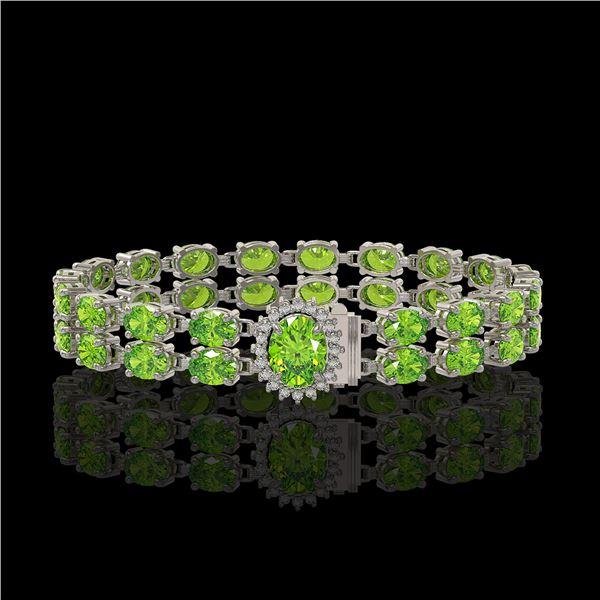 17.26 ctw Peridot & Diamond Bracelet 14K White Gold - REF-263H6R