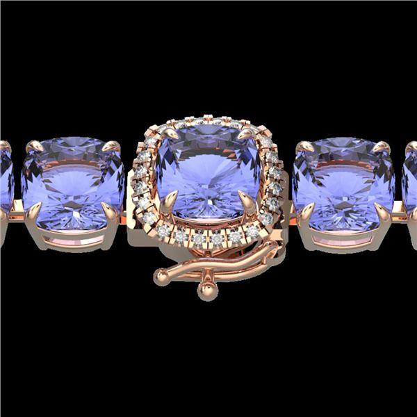 40 ctw Tanzanite & Micro Pave Diamond Bracelet 14k Rose Gold - REF-618F2M