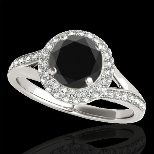 1.6 ctw Certified VS Black Diamond Solitaire Halo Ring 10k White Gold - REF-57H8R