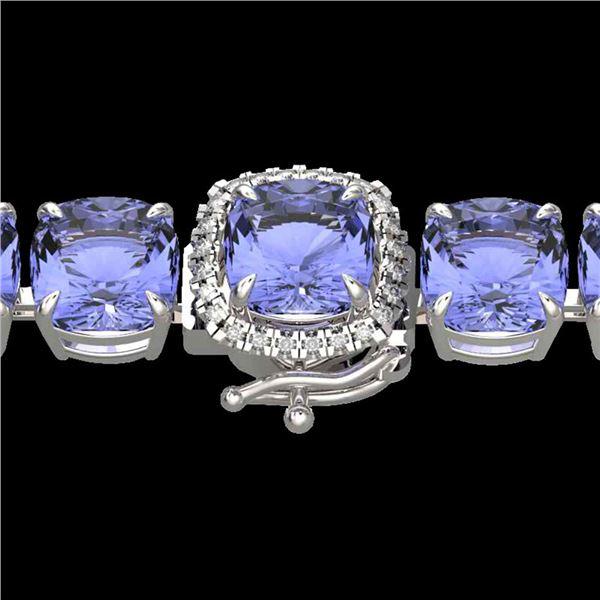 40 ctw Tanzanite & Micro Pave Diamond Bracelet 14k White Gold - REF-618A2N