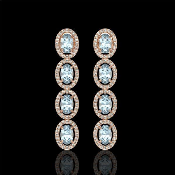 4.68 ctw Aquamarine & Diamond Micro Pave Halo Earrings 10k Rose Gold - REF-143X6A