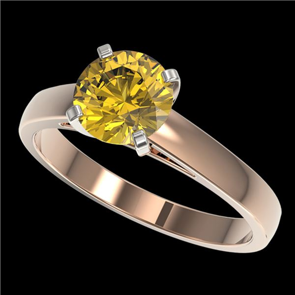 1.50 ctw Certified Intense Yellow Diamond Solitaire Ring 10k Rose Gold - REF-233W2H