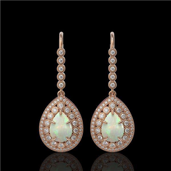 8.29 ctw Certified Opal & Diamond Victorian Earrings 14K Rose Gold - REF-268M9G
