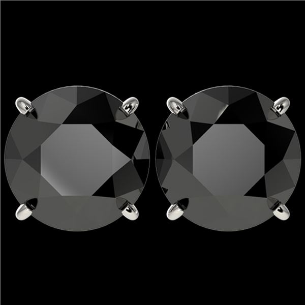 5 ctw Fancy Black Diamond Solitaire Stud Earrings 10k White Gold - REF-82R2K