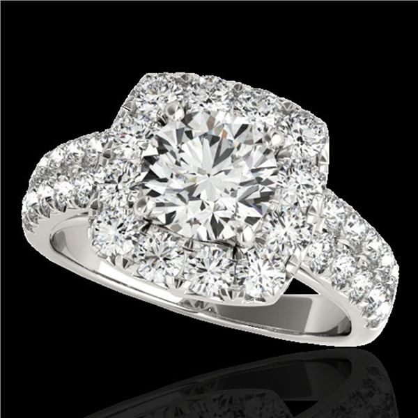 2.5 ctw Certified Diamond Solitaire Halo Ring 10k White Gold - REF-300A2N
