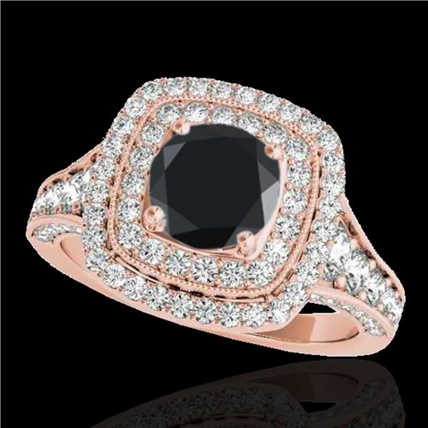 2 ctw Certified VS Black Diamond Solitaire Halo Ring 10k Rose Gold - REF-94Y3X