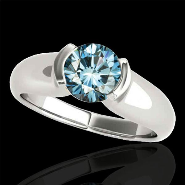 1 ctw SI Certified Fancy Blue Diamond Solitaire Ring 10k White Gold - REF-107M8G