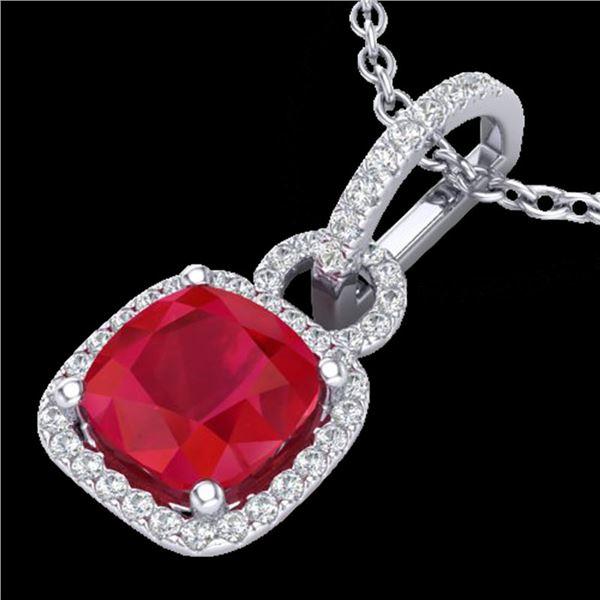 3 ctw Ruby & Micro VS/SI Diamond Certified Necklace 18k White Gold - REF-76R4K