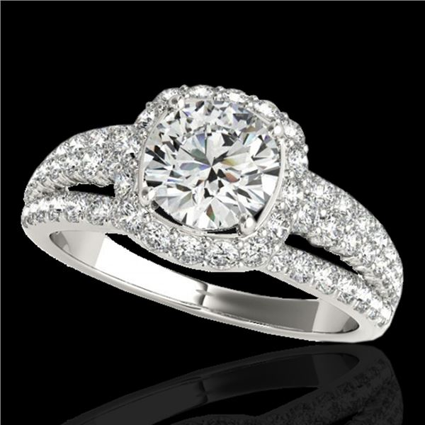2 ctw Certified Diamond Solitaire Halo Ring 10k White Gold - REF-204W5H