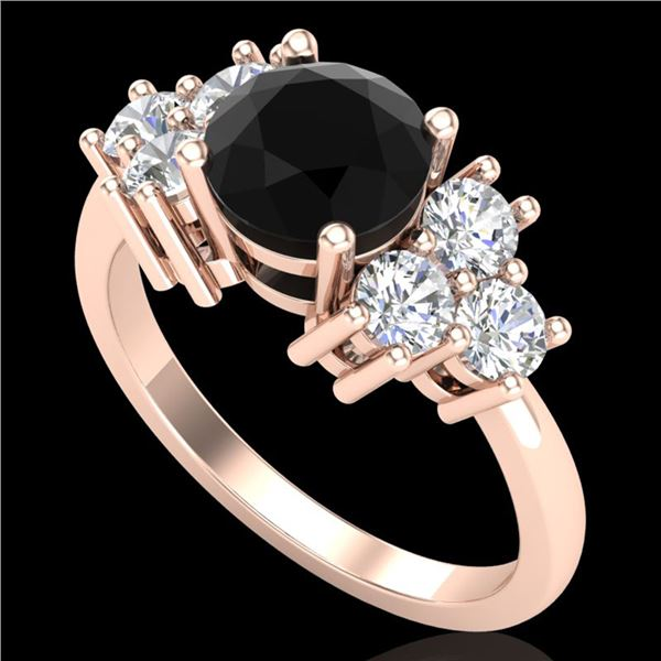 1.51 ctw Fancy Black Diamond Engagment Art Deco Ring 18k Rose Gold - REF-127Y3X
