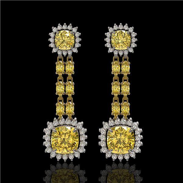 19.46 ctw Citrine & Diamond Earrings 14K Yellow Gold - REF-235X3A
