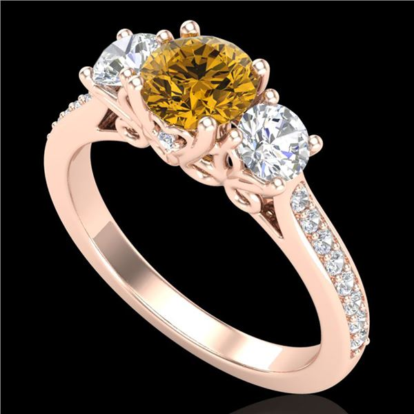 1.67 ctw Intense Fancy Yellow Diamond Art Deco Ring 18k Rose Gold - REF-227M3G
