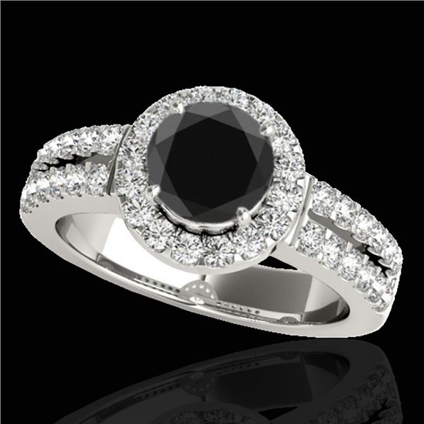 1.5 ctw Certified VS Black Diamond Solitaire Halo Ring 10k White Gold - REF-80Y5X