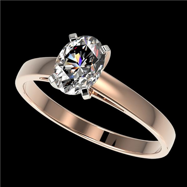 1 ctw Certified VS/SI Quality Oval Diamond Solitaire Ring 10k Rose Gold - REF-243F2M