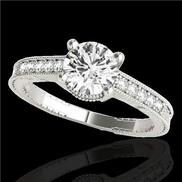 1.45 ctw Certified Diamond Solitaire Antique Ring 10k White Gold - REF-245M5G