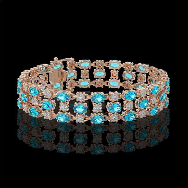16.06 ctw Swiss Topaz & Diamond Row Bracelet 10K Rose Gold - REF-209W3H