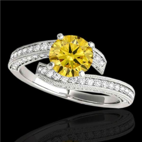 2 ctw SI/I Fancy Intense Yellow Diamond Bypass Ring 10k White Gold - REF-259N3F