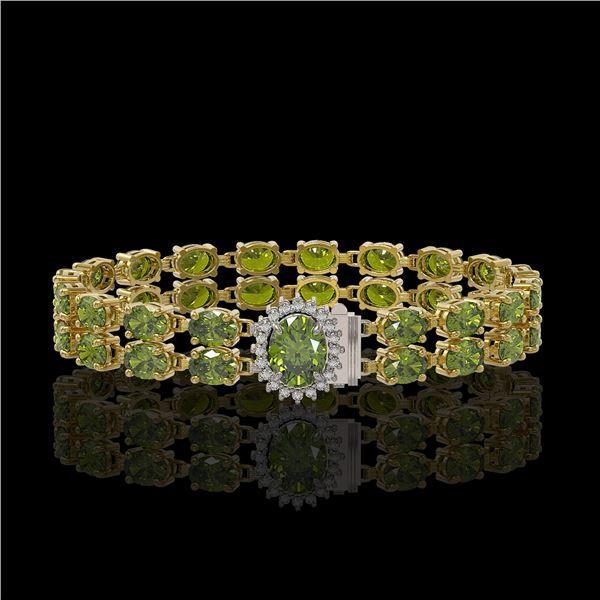 26.92 ctw Tourmaline & Diamond Bracelet 14K Yellow Gold - REF-336H4R