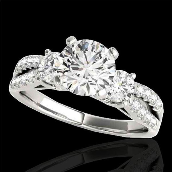 1.5 ctw Certified Diamond 3 Stone Ring 10k White Gold - REF-204F5M