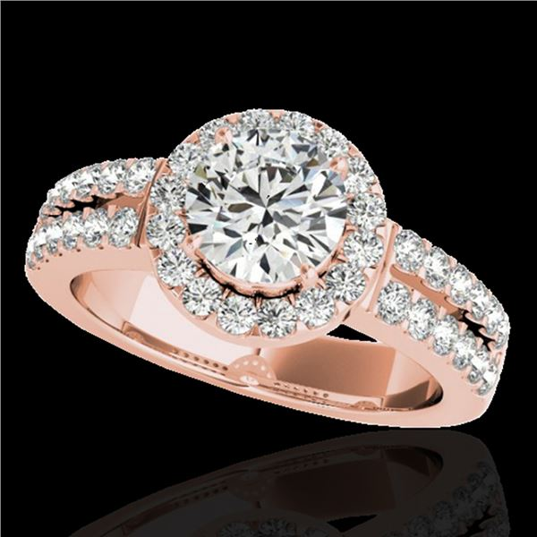 1.5 ctw Certified Diamond Solitaire Halo Ring 10k Rose Gold - REF-218Y2X