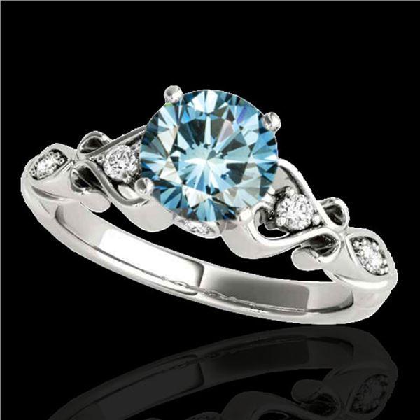 1.15 ctw SI Certified Fancy Blue Diamond Antique Ring 10k White Gold - REF-117Y3X