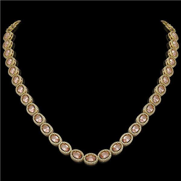 31.96 ctw Morganite & Diamond Micro Pave Halo Necklace 10k Yellow Gold - REF-672Y8X