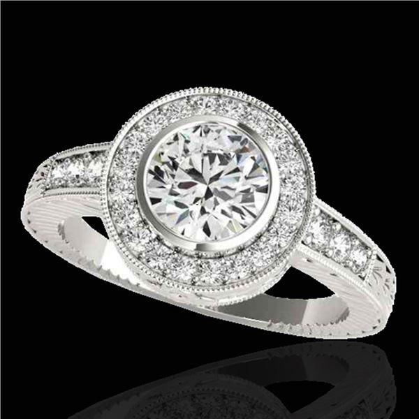 1.50 ctw Certified Diamond Solitaire Halo Ring 10k White Gold - REF-197R8K