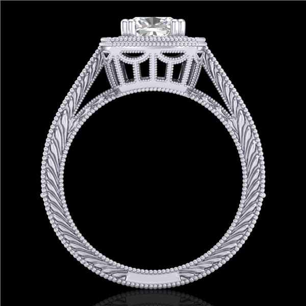 1.77 ctw Cushion VS/SI Diamond Solitaire Art Deco Ring 18k White Gold - REF-459N3F