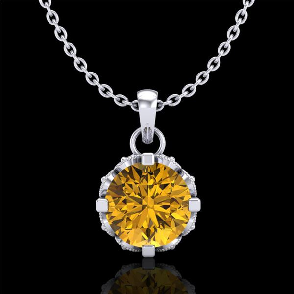 0.85 ctw Intense Fancy Yellow Diamond Art Deco Necklace 18k White Gold - REF-109R3K