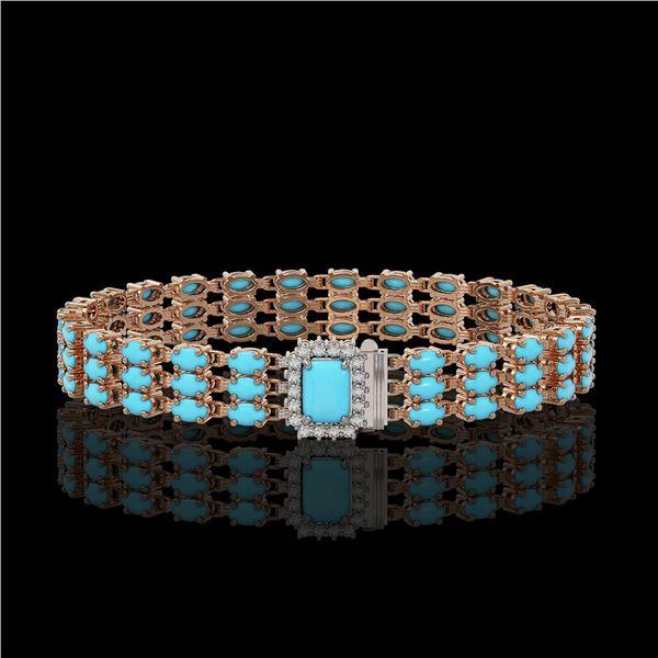 19.27 ctw Turquoise & Diamond Bracelet 14K Rose Gold - REF-318G2W