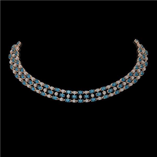 38.99 ctw London Topaz & Diamond Necklace 10K Rose Gold - REF-427N3F