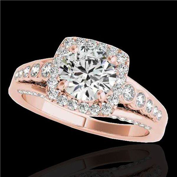 2 ctw Certified Diamond Solitaire Halo Ring 10k Rose Gold - REF-259A3N