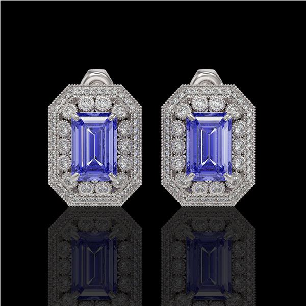 11.25 ctw Tanzanite & Diamond Victorian Earrings 14K White Gold - REF-672F8M