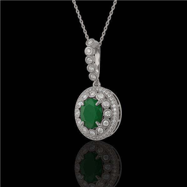 4.67 ctw Certified Emerald & Diamond Victorian Necklace 14K White Gold - REF-139X8A
