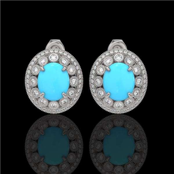 9.21 ctw Turquoise & Diamond Victorian Earrings 14K White Gold - REF-266R4K