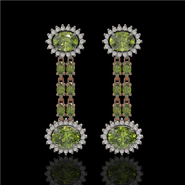 8.69 ctw Tourmaline & Diamond Earrings 14K Rose Gold - REF-227N3F