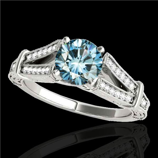 1.25 ctw SI Certified Blue Diamond Solitaire Antique Ring 10k White Gold - REF-129K5Y
