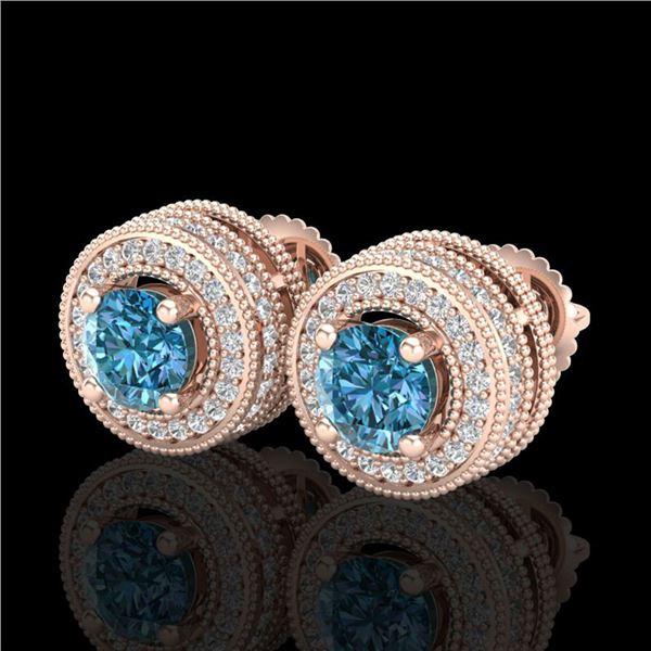 2.09 ctw Fancy Intense Blue Diamond Art Deco Earrings 18k Rose Gold - REF-218K2Y