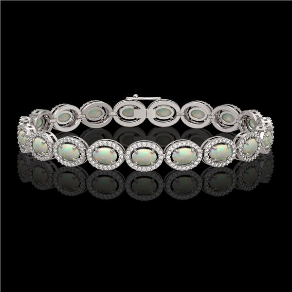 9.5 ctw Opal & Diamond Micro Pave Halo Bracelet 10k White Gold - REF-251R8K